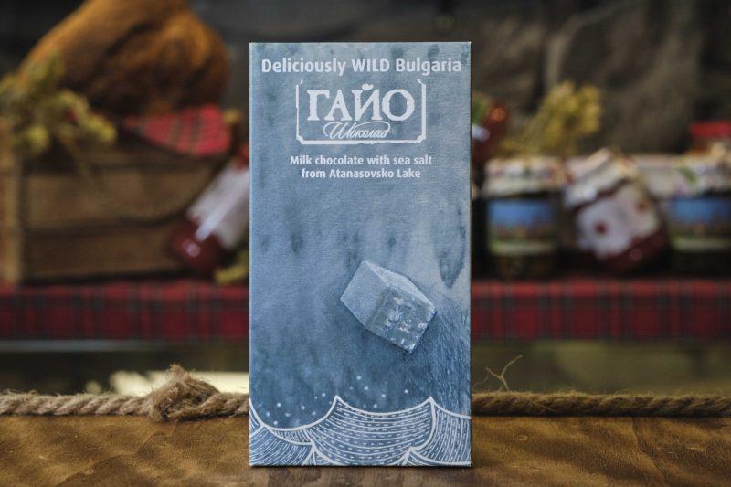 "Гайо ""Deliciously Wild Bulgaria"" Sea salt - млечен шоколад с морска сол от Атанасовско Езеро 80 гр . 1"