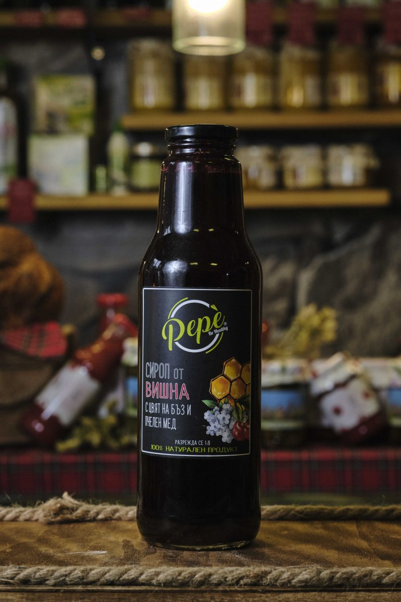 """Сироп """"Пепе"""" от вишна с цвят на бъз и пчелен мед - 750 мл . 1"""