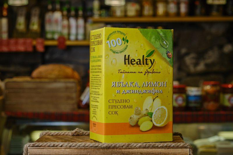 """Студено пресован сок """"Healthy"""" от ябълка, лимон и джинджифил 3 л. 1"""